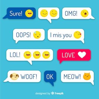 Wielokolorowe wiadomości o płaskiej konstrukcji z emoji