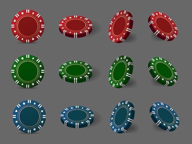 Wielokolorowe żetony kasynowe do pokera lub ruletki. elementy logo, strony internetowej, banera, ulotki. ilustracja wektorowa.