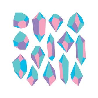 Wielokolorowy kryształowy kamień w pastelowym