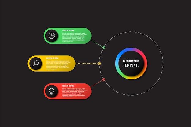 Wielokolorowy szablon infografiki z 3 okrągłymi elementami na czarnym tle nowoczesny diagram biznesowy