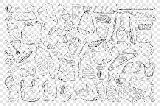 Wielokrotnego użytku gospodarstwa domowego i materiały do domu doodle zestaw ilustracji