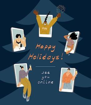 Wielokulturowa grupa kobiet na ekranach smartfonów, świętująca wspólnie świąteczną imprezę na odległość