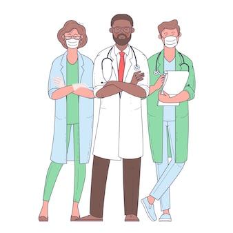 Wielokulturowa grupa medyków. zespół medyczny w białych maskach. lekarz, pielęgniarka, chirurg. płaska konstrukcja znaków.