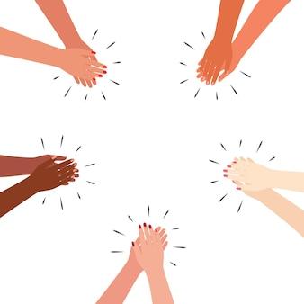 Wielokulturowe ręce biją brawo. klaszcz pozdrowienia dzięki wsparciu