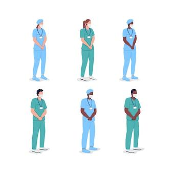 Wielokulturowi lekarze płaski kolor wektor zestaw znaków bez twarzy. profesjonalni lekarze. pielęgniarki płci męskiej i żeńskiej izolowane ilustracja kreskówka do projektowania grafiki internetowej i kolekcji animacji