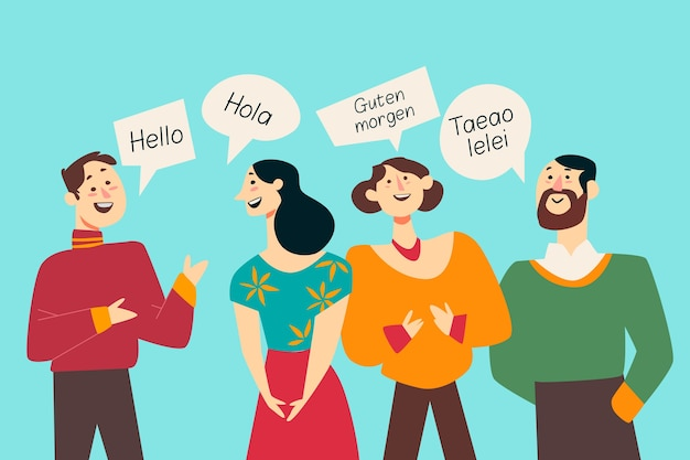 Wielokulturowi ludzie ilustracyjny płaski projekt