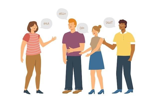 Wielokulturowi ludzie komunikują ilustrację