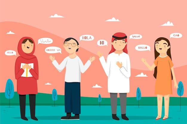 Wielokulturowi ludzie rozmawiają w różnych językach