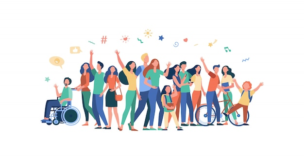 Wielokulturowi ludzie stojący razem