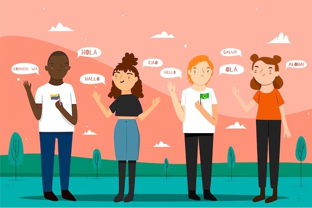 Wielokulturowi przyjaciele rozmawiają w różnych językach