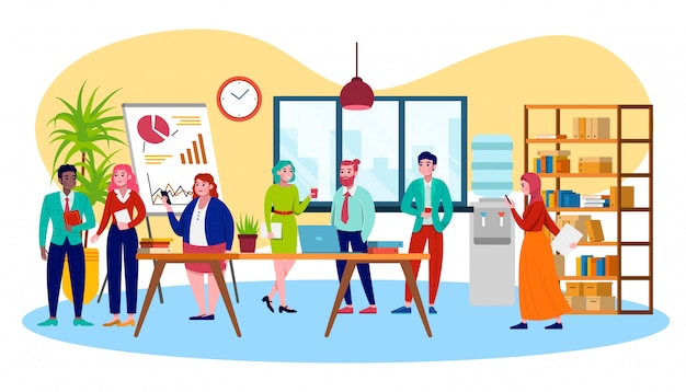 Wielokulturowy coworking biznesowy zespół i centrum ludzi, ilustracja spotkanie biznesowe. wielokulturowa praca zespołowa w biurze, wspólne środowisko pracy, biuro typu open space, firma.