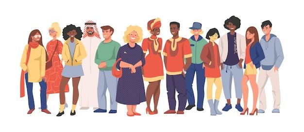 Wielokulturowy zespół. grupa różnych ludzi w zwykłych ubraniach stojących razem, postaci z kreskówek różnych narodowości. ilustracja wektorowa szczęśliwych mężczyzn i kobiet ustawić różnorodność wieloetnicznych ludzi