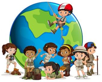 Wielokulturowy zwiadowca z globusem