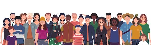 Wielonarodowa grupa ludzi na białym tle