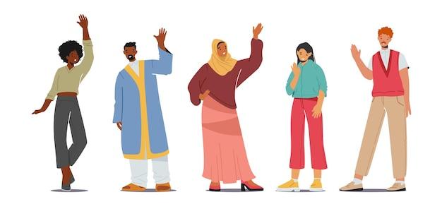 Wielonarodowi ludzie machający rękami, szczęśliwe młode postacie męskie i żeńskie w tradycyjnych strojach pozdrowienie, gestykulacja