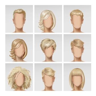 Wielonarodowy mężczyzna twarz kobiety avatar profil głowy zestaw ikon włosów