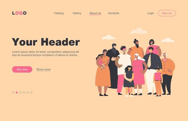 Wielonarodowy tłum ludzi stojących razem płaska strona docelowa. portret kreskówek zróżnicowanych młodych i starszych mężczyzn, kobiet i dzieci. koncepcja społeczeństwa i społeczności wielokulturowej