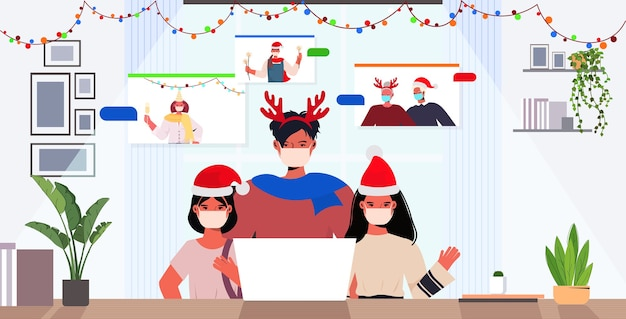 Wielopokoleniowa rodzina w czapkach mikołaja omawianie podczas rozmowy wideo koncepcja kwarantanny koronawirusa nowy rok święta bożego narodzenia uroczystość ilustracja wnętrza salonu