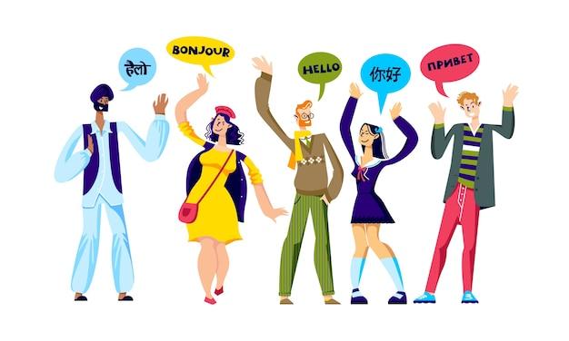 Wielorasowa grupa ludzi witających się w różnych językach.