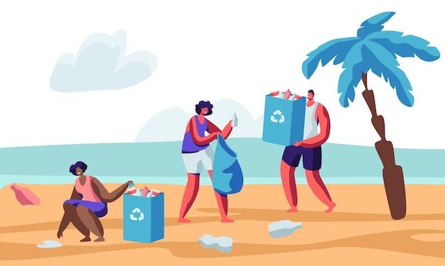 Wielorasowe postacie ludzkie zbierają śmieci na plaży podczas czyszczenia wybrzeża. płaskie ilustracja kreskówka