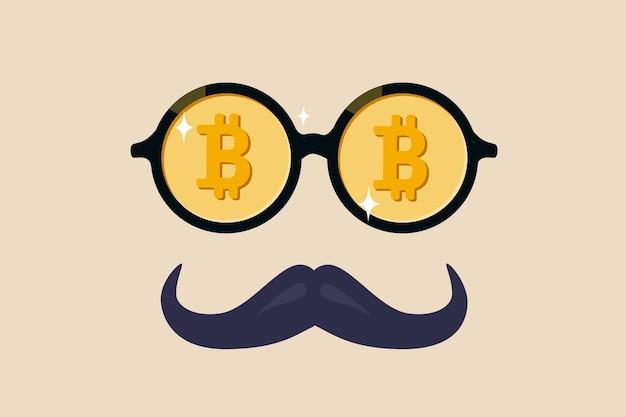Wieloryb bitcoin lub anonimowy, bogaty w handel kryptowalutami bitcoin, guru kryptowalut lub inwestor sukcesu bez koncepcji tożsamości, fantazyjne okulary nerd z cennym symbolem bitcoin i wąsami.