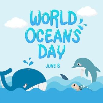Wieloryb, delfin, rekin i żółw w oceanie z tekstem światowy dzień oceanów.
