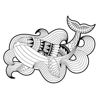 Wieloryb ilustracja mandala zentangle styl lineal