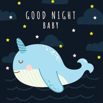 Wieloryb kreskówka ładny dobranoc karty dla dziecka