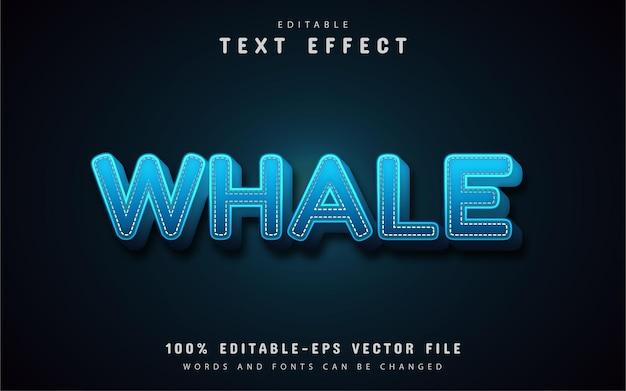 Wieloryb tekst 3d niebieski szablon efektu tekstowego
