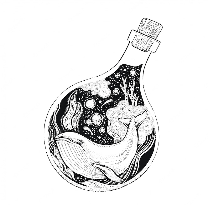Wieloryb w butelce czarna grafika liniowa. szkic w stylu vintage do nadruku na koszulce lub tatuażu.