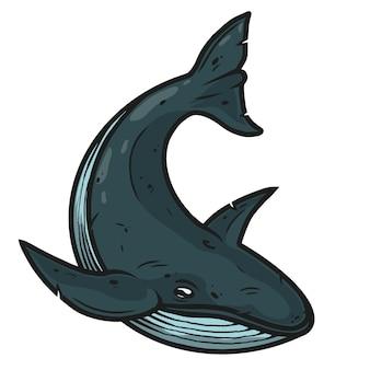 Wieloryb w stylu vintage na białym tle ilustracji