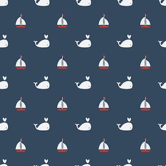 Wieloryby bez szwu deseń na niebieskim tle