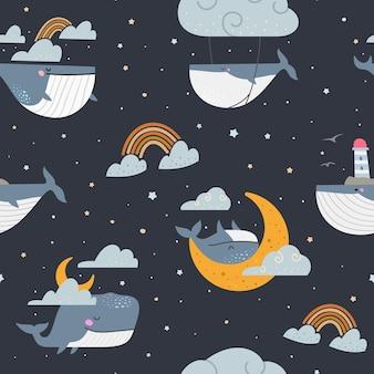 Wieloryby w nocnym niebie bez szwu wzór