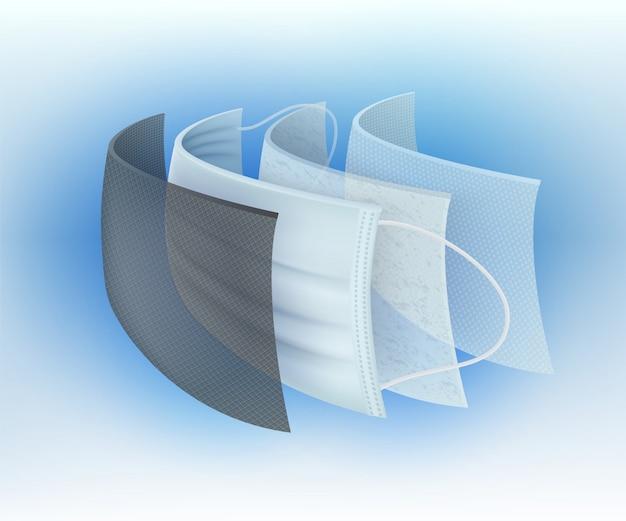 Wielowarstwowy chirurgiczny filtr maski ochronnej zapobiega zarazkom i kurzowi, wirusom, bakteriom, kurzowi, ślinie, zapachowi. dla bezpieczeństwa i higieny.