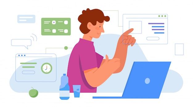 Wielozadaniowa ilustracja pracy biurowej. postać z kreskówki zajęty biznesmen pracujący nad wieloma zadaniami wirtualnego biznesu. koncepcja wielozadaniowości, nowoczesne efektywne zarządzanie czasem na białym tle