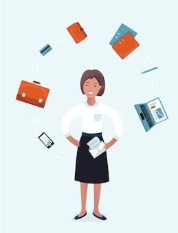 Wielozadaniowy kuglarz bizneswoman z materiałami biurowymi