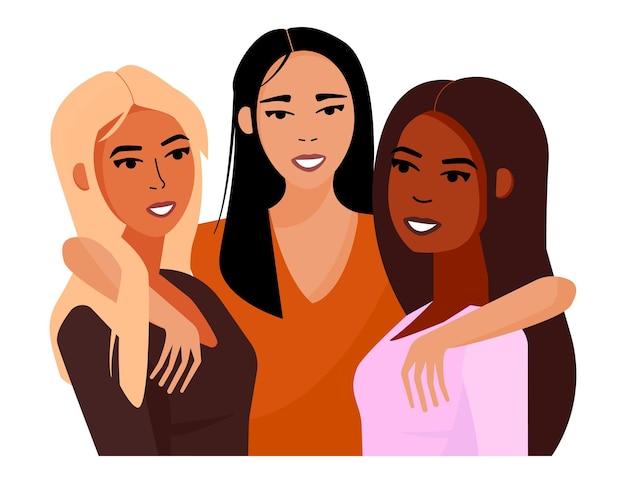 Wielu etnicznych przyjaciół piękna dziewczyna. kobiety różnych narodowości i kultur