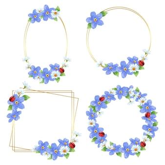 Wieńce kwiatowy ramki. zestaw kwiatów akwarela ramki. akwarela kolorowy bukiet kwiatów alstremerii.