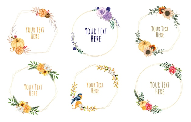 Wieńce kwiatowy ramki. zestaw kwiatów akwarela ramki.