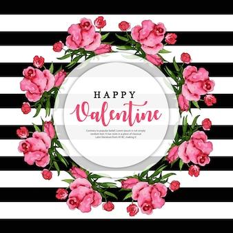 Wieniec akwarela kwiatowy Walentynki