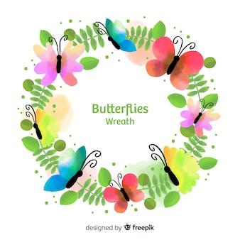 Wieniec akwarela motyle