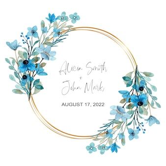 Wieniec akwarela niebieski dziki kwiatowy ze złotą ramą