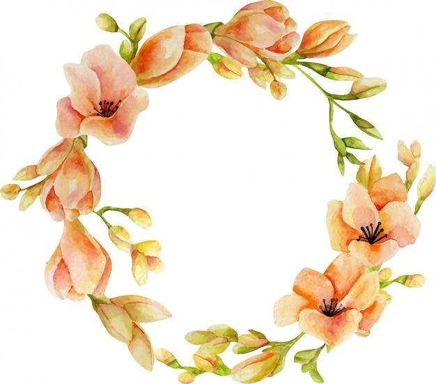 Wieniec akwarela różowe kwiaty frezji