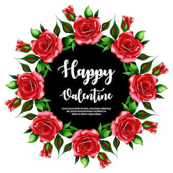 Wieniec akwarela valentine