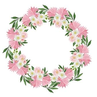 Wieniec akwarelowy z różowych kwiatów tropikalnych