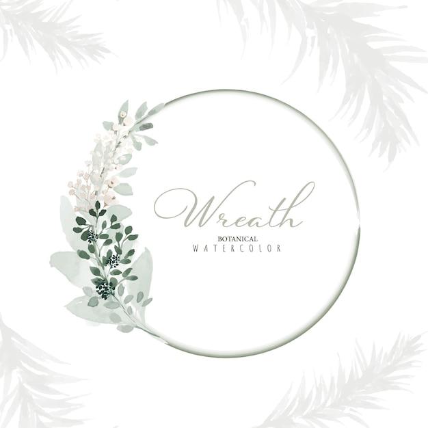 Wieniec botaniczny z liści i gałęzi z ręcznie malowaną akwarelą. zieleń ramka na kartki okolicznościowe, zapisz datę, zaproszenie, etykietę lub wesele.