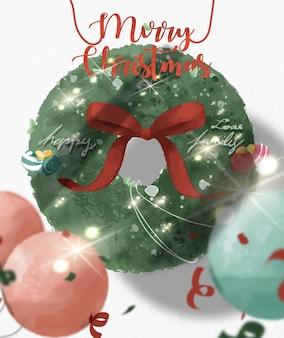 Wieniec bożonarodzeniowy na życzenia bożonarodzeniowe w stylu przypominającym akwarele
