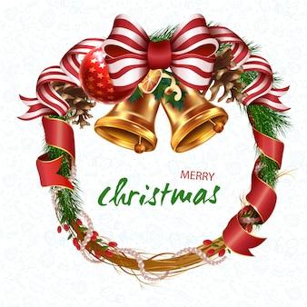 Wieniec bożonarodzeniowy. wieniec świąteczny z wstążkami