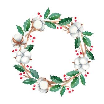 Wieniec bożonarodzeniowy z czerwonymi jagodami i bawełnianymi kwiatami, rama farby akwarelowe