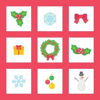 Wieniec bożonarodzeniowy z jemiołą, wstążką i prezentem